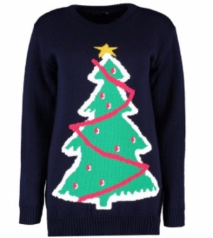 Navy Christmas Tree Jumper