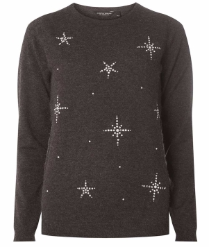 Charcoal Snowflake Embellished Jumper