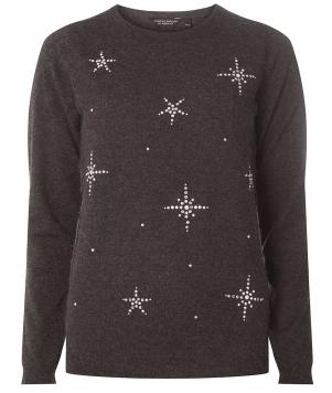 Charcoal Snowflake Embellished Jumper