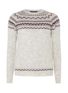 Grey Embellished Fairisle Jumper
