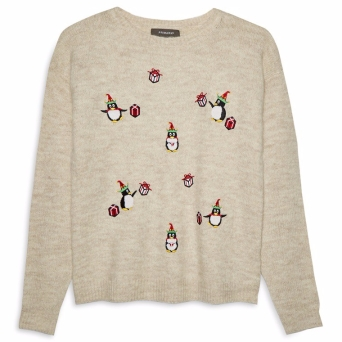 Beige Penguin Christmas Jumper