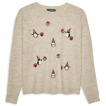 Beige Penguin Christmas Jumper