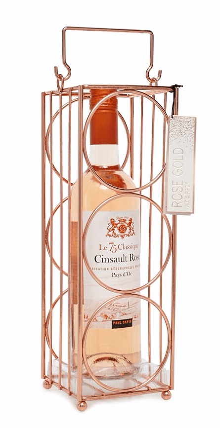 Rose gold wine rack with wine